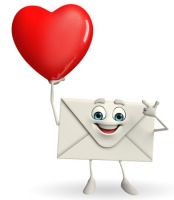 31782814 - cartoon character of mail with red heart