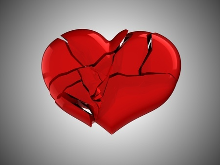 8295557 - death and illness. red broken heart over grey background